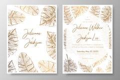 Χρυσή γαμήλια πρόσκληση με τα τροπικά φύλλα Διανυσματικά στοιχεία για το πρότυπο σχεδίου Χρυσά τροπικά φύλλα για τις κάρτες διανυσματική απεικόνιση