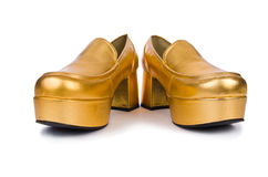 χρυσή γυναίκα παπουτσιών Στοκ Εικόνα