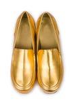 χρυσή γυναίκα παπουτσιών στοκ φωτογραφία