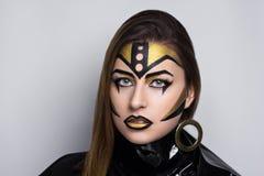 Χρυσή γυναίκα ρομπότ Στοκ Εικόνες