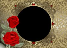 Χρυσή διακόσμηση πλαισίων με τα κόκκινα τριαντάφυλλα σε ένα χρυσό εκλεκτής ποιότητας υπόβαθρο στοκ φωτογραφίες