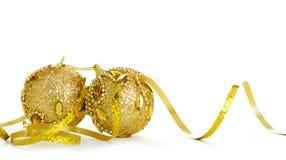 Χρυσή διακόσμηση Χριστουγέννων των αντικειμένων Στοκ Εικόνες