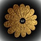 Χρυσή διανυσματική απεικόνιση λουλουδιών Τυποποιημένο χρυσό floral υπόβαθρο Στοκ Φωτογραφίες