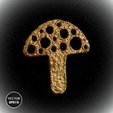Χρυσή διανυσματική απεικόνιση μανιταριών Τυποποιημένο χρυσό amanita υπόβαθρο Στοκ Φωτογραφίες