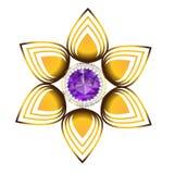 Χρυσή διανυσματική απεικόνιση μορφής λουλουδιών κοσμήματος Στοκ εικόνα με δικαίωμα ελεύθερης χρήσης