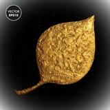 Χρυσή διανυσματική απεικόνιση φύλλων Τυποποιημένο χρυσό floral υπόβαθρο Στοκ Φωτογραφία