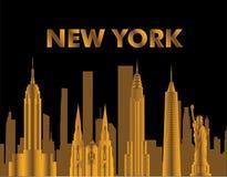 Χρυσή εγγραφή της Νέας Υόρκης Διάνυσμα με τα skycrapers και τα εικονίδια ταξιδιού στο μαύρο υπόβαθρο Κάρτα ταξιδιού διανυσματική απεικόνιση