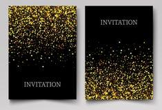 Χρυσή εμβλήματα, ευχετήρια κάρτα ή σχέδιο ιπτάμενων Χρυσή διανυσματική απεικόνιση σκόνης Αφίσες καλής χρονιάς και Χριστουγέννων ελεύθερη απεικόνιση δικαιώματος