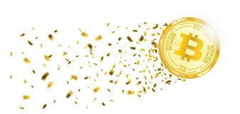 Χρυσή επιγραφή αισθήσεων μαγείας κομφετί Bitcoin Διανυσματική απεικόνιση
