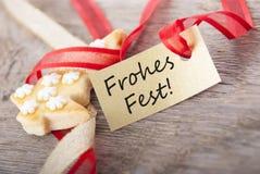 Χρυσή ετικέτα με το φεστιβάλ Frohes Στοκ εικόνα με δικαίωμα ελεύθερης χρήσης