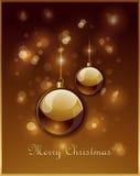 Χρυσή ευχετήρια κάρτα Χριστουγέννων Στοκ Εικόνες