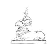 Χρυσή ζωική νεράιδα αγαλμάτων προβάτων Στοκ Φωτογραφίες