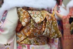Χρυσή ζώνη obi κιμονό Στοκ φωτογραφία με δικαίωμα ελεύθερης χρήσης