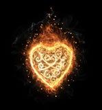 Χρυσή δικτυωτή καρδιά πυρκαγιάς Στοκ φωτογραφία με δικαίωμα ελεύθερης χρήσης