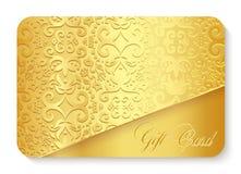 Χρυσή κάρτα δώρων πολυτέλειας με το εκλεκτής ποιότητας deco διακοσμήσεων Στοκ φωτογραφία με δικαίωμα ελεύθερης χρήσης