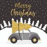 Χρυσή κάρτα Χαρούμενα Χριστούγεννας με το αυτοκίνητο διανυσματική απεικόνιση