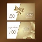 Χρυσή κάρτα δώρων με το γεωμετρικό τόξο Στοκ Εικόνες