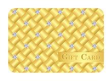 Χρυσή κάρτα δώρων πολυτέλειας με τα μικρά διαμάντια Στοκ Εικόνες