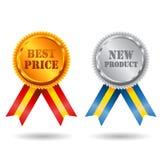 Χρυσή και ασημένια καλύτερη ετικέτα τιμών με την κορδέλλα Στοκ φωτογραφία με δικαίωμα ελεύθερης χρήσης
