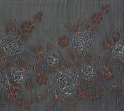 Χρυσή και ασημένια floral κεντητική Στοκ Εικόνες