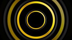 Χρυσή και μαύρη αφηρημένη τηλεοπτική ζωτικότητα κύκλων απεικόνιση αποθεμάτων