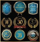 Χρυσή και μπλε συλλογή ετικετών επετείου, 30 έτη Στοκ Εικόνες