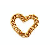 χρυσή καρδιά αλυσίδων Στοκ φωτογραφία με δικαίωμα ελεύθερης χρήσης