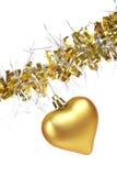 χρυσή καρδιά Χριστουγένν&omega Στοκ Εικόνες