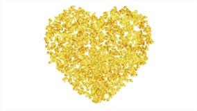 Χρυσή καρδιά από το μικρό polygonal σχέδιο κινήσεων μορφών ελεύθερη απεικόνιση δικαιώματος
