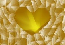 Χρυσή καρδιά γυαλιού Στοκ Φωτογραφία