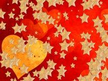 Χρυσή καρδιά και πολλά αστέρια Στοκ Φωτογραφία
