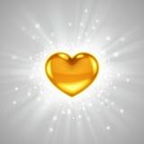 Χρυσή καρδιά με τη φωτεινή ακτινοβολία Στοκ Εικόνες