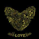 Χρυσή καρδιά υπό μορφή λουλουδιού και φυλλώματος διάνυσμα Απεικόνιση αποθεμάτων