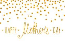 Χρυσή κατασκευασμένη ευτυχής επιγραφή ημέρας μητέρων Στοκ φωτογραφίες με δικαίωμα ελεύθερης χρήσης