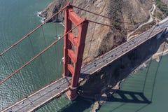 Χρυσή κεραία κόλπων του Σαν Φρανσίσκο γεφυρών πυλών Στοκ Εικόνες