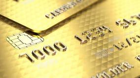 Χρυσή κινηματογράφηση σε πρώτο πλάνο πιστωτικών καρτών διανυσματική απεικόνιση