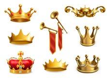 Χρυσή κορώνα του βασιλιά τα εικονίδια εικονιδίων χρώματος χαρτονιού που τίθενται κολλούν το διάνυσμα τρία διανυσματική απεικόνιση