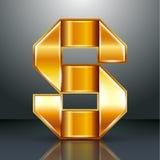 Χρυσή κορδέλλα μετάλλων επιστολών - S Στοκ Εικόνα
