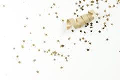 Χρυσή κορδέλλα με τα αστέρια Στοκ φωτογραφία με δικαίωμα ελεύθερης χρήσης