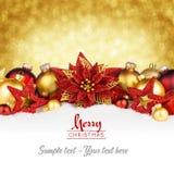 Χρυσή κόκκινη κάρτα Χριστουγέννων Στοκ Φωτογραφίες
