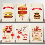 Χρυσή κόκκινη κινεζική κάρτα με το λιοντάρι, το χτύπημα, το ναό και το φανάρι κινεζικά διανυσματική απεικόνιση
