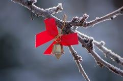 χρυσή κόκκινη κορδέλλα κ&omi Στοκ Φωτογραφίες