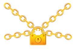Χρυσή κλειδαριά στην αλυσίδα Στοκ φωτογραφία με δικαίωμα ελεύθερης χρήσης