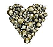 Χρυσή λαμπρή μεταλλική καρδιά φιαγμένη από icosferes, κανένα υπόβαθρο, διακοπή, τρισδιάστατη απόδοση ελεύθερη απεικόνιση δικαιώματος