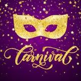 Χρυσή μάσκα για τη Mardi Gras, ενετική μεταμφίεση καρναβαλιού διανυσματική απεικόνιση