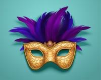 χρυσή μάσκα καρναβαλιού ελεύθερη απεικόνιση δικαιώματος