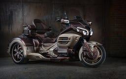 Χρυσή μοτοσικλέτα συνήθειας φτερών gl-1800 της Honda trike Στοκ Εικόνες