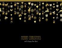 Χρυσή μουσική ελαφιών χιονιού διακοσμήσεων Χαρούμενα Χριστούγεννας απεικόνιση αποθεμάτων