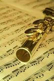 χρυσή μουσική φλαούτων ανασκόπησης Στοκ Φωτογραφίες