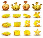 Χρυσή πίστωση, χρήματα, νομίσματα που τίθενται για τη διεπαφή παιχνιδιών Στοκ Εικόνες